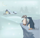 Penguins and winter. Penguins on a winter background with small houses Stock Image