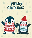Penguins in winter merry Christmas card royalty free illustration