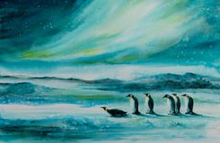Penguis watercolors painted stock photos