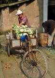 Pengzhou, Κίνα: Κουνουπίδια φόρτωσης ζεύγους στο κάρρο Στοκ εικόνα με δικαίωμα ελεύθερης χρήσης