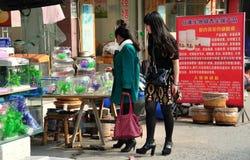 Pengzhou, Китай: Женщины ходя по магазинам на магазине любимчика стоковое фото rf