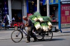 Pengzhou, Китай: Старик вытягивая тележку зеленых цветов чеснока Стоковая Фотография RF