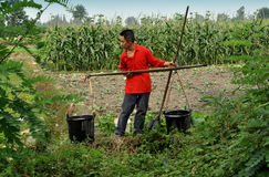 Pengzhou, Китай: Хуторянин с ведрами воды Стоковые Изображения