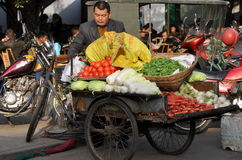 Pengzhou, Китай: Человек продавая овощи Стоковые Фото