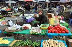 pengzhou фарфора продавая женщину овощей Стоковое Изображение RF