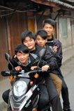 Pengzhou, China: 4 Teens on a Motorcycle Stock Photos