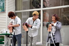 Pengzhou, China: Apprentice Hair Stylists Royalty Free Stock Photography
