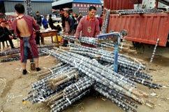 Pengzhou, China: Arbeitskräfte, die Zuckerrohr wiegen Stockbild