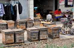 Pengzhou, China: Beehives and Beekeeper Stock Photography