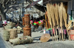 Pengzhou, China: Brooms and Baskets Royalty Free Stock Photos