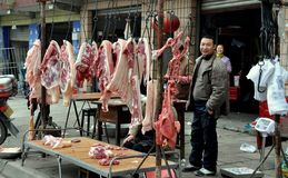 Pengzhou, China: Butcher and Meat Royalty Free Stock Photography