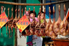 Pengzhou, China: Butcher Shop Selling Ducks Stock Images