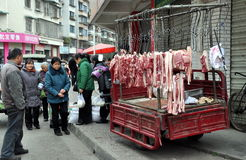 Pengzhou, China: Butcher Shop on Wheels Stock Photography