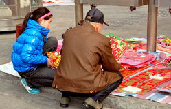 Pengzhou, China: Buying New Year Decorations Royalty Free Stock Photography