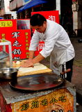 Pengzhou, China: Chef Making Chinese Pizza Stock Photos