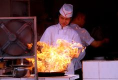 Pengzhou, China: Chef Stir-Frying Food Royalty Free Stock Photos