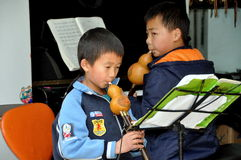 Pengzhou, China: Children with Musical Instruments Stock Images