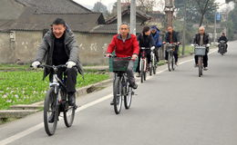Pengzhou, China: Chinese Bicycling Group Royalty Free Stock Photo