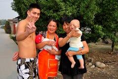 Pengzhou, China: Chinese Farm Family Stock Photo