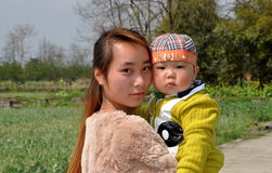 Pengzhou, China: Chinese Mother and Baby Stock Photo