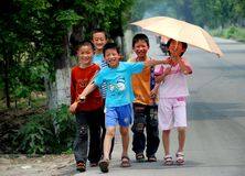 Pengzhou, China: Chinese Schoolchildren Royalty Free Stock Photo