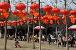Pengzhou, China: City Park with New Year Lanterns Royalty Free Stock Photos