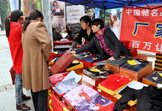 Pengzhou, China: Clothing Vendors Royalty Free Stock Photography