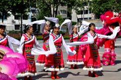 Pengzhou, China: Costumed Women Dancing Royalty Free Stock Photo