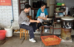 Pengzhou, China: Couple Making Meatballs Stock Photography