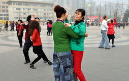 Pengzhou, China: Couples Dancing in Outdoor Plaza Royalty Free Stock Photography
