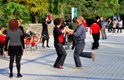Pengzhou, China: Couples Dancing in Park Royalty Free Stock Image