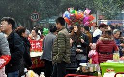 Pengzhou, China: Crowds Buying Food Royalty Free Stock Photos