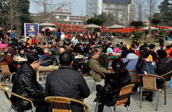 Pengzhou, China: Crowds Drinking Tea in City Park Royalty Free Stock Photo
