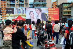 Pengzhou, China: Crowds in New Square Stock Photography