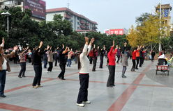 Pengzhou, China: Dancing in New Square Stock Photos