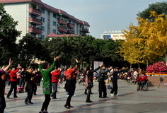 Pengzhou, China: Dancing in New Square Royalty Free Stock Photography