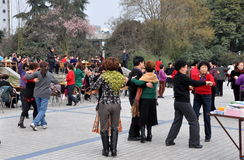 Pengzhou, China: Dancing in Pengzhou Park Stock Images