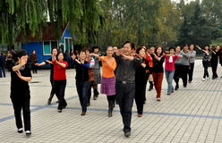 Pengzhou, China: Dancing in Pengzhou Park Stock Photography