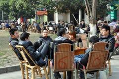 Pengzhou, China: Drinking Tea in New Square Royalty Free Stock Photo