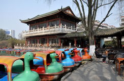 Pengzhou China: Duck Boats and Tea House Stock Image
