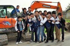 Pengzhou, China: Estudiantes de la High School secundaria Imagen de archivo