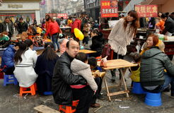 Pengzhou, China: Familes Eating Alfresco Stock Photo