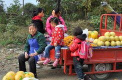 Pengzhou, China: Familie, die frische Frucht verkauft stockfotos
