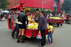 Pengzhou, China: Family Buying Bananas Royalty Free Stock Photos