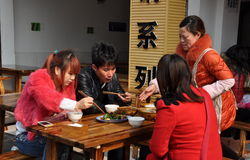 Pengzhou, China: Family Eating at Restaurant Royalty Free Stock Photography