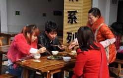 Pengzhou, China: Family Eating at Restaurant Royalty Free Stock Photography