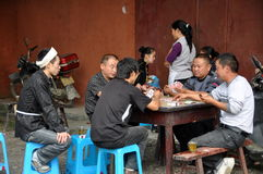 Pengzhou, China: Family Playing Cards Royalty Free Stock Photography
