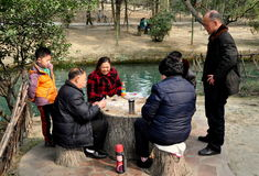 Pengzhou, China: Family Playing Cards Stock Images
