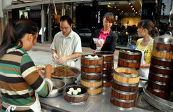 Pengzhou, China: Family Selling Dumplings Stock Photo