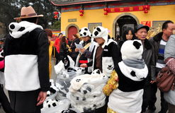 Pengzhou, China: Family Selling Panda Clothing Royalty Free Stock Photo